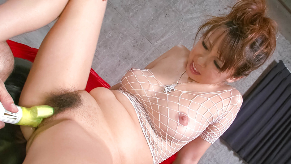 Asuka - in white fishnet body suit has her round tits squeezed before jizzed on