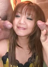 Mizuki Ishikawa Asian sucks and rubs dicks and gets cum on mouth