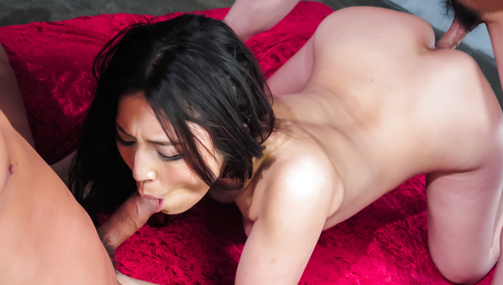 Asian girl blowjob during harsh group adventure