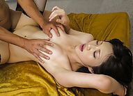 Asian 69 Amateur - Hitomi Sakurai Asian has hairy cunt under vibrator and rides dong