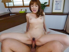 Teen Hikaru Shiina Blasted And Creamed In A Threesome