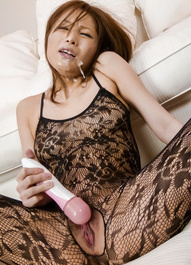 Tsubasa Aihara with vibrator through crotchless gets cum on face