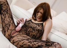 Tsubasa Aihara gives a japanese blow job in lingerie