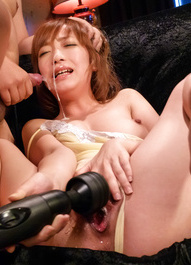 Sana Anzyu Asian gets cum on face while using vibrators on twat