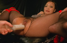 Chubby and fetish babe in fishnet pussy fondled and cum covered