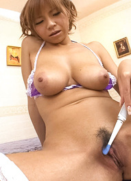 Sumire Matsu Asian with big tits puts tooth brush on her cooter