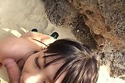 Horny asian milf Megumi Haruka sucks dick at the beach Photo 12
