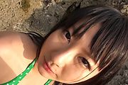 Horny asian milf Megumi Haruka sucks dick at the beach Photo 1