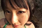 Horny asian milf Megumi Haruka sucks dick at the beach Photo 6
