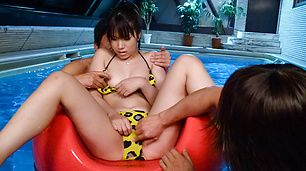Curvy Hinata Tachibana in the middle of japanese group sex
