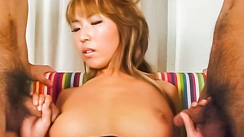 Cute Japanese chick sprayed with man milk all over her tits