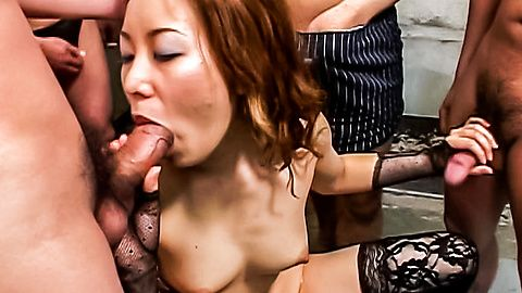 Slutty Asian handling and sucking three loaded and hard shafts