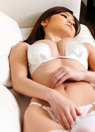 Nao Asian with white stockings rubs her clitoris to get orgasm