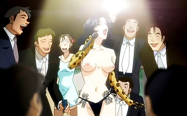 Sexy topless singer surrounded by bunch of horny dicks
